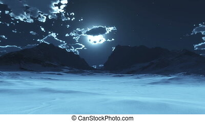 snow mountain moon