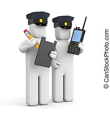 Two police officer one with clipboard and another with...