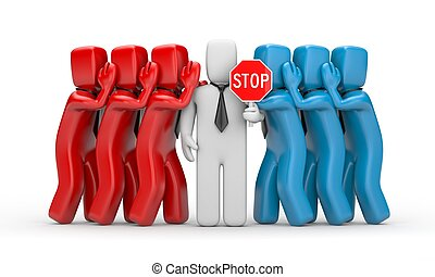 Stop the gossip - business 3D illustration