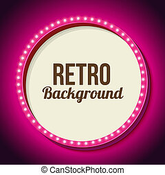 Retro frame circle with neon lights - Realistic retro round...