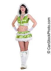 bello, vestire, ragazza, verde, fata