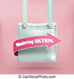 Purse Bag Pink Background Muttertag Aktion - German text...