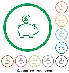 Pound piggy bank outlined flat icons