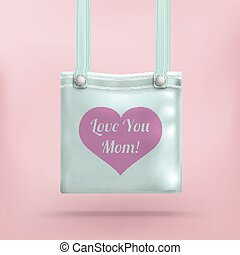 Purse Bag Pink Background Heart Love Mom - Purse with text...