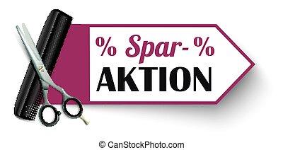 Red Marker Scissors Comb Sparaktion