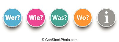 Question Circles Wer Wie Was Wo SH - German text Wer, Wie,...