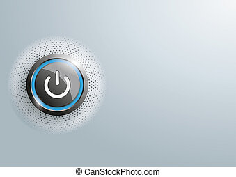 Power Button Halftone Gray Copyspace - Power button with...