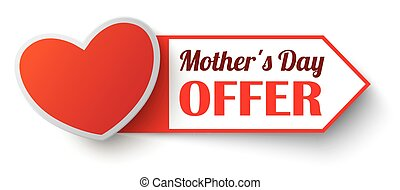 Red Marker Mothers Day Offer SH - Heart with label and text...