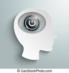 White Paper Head Brain Power Button - White paper head with...