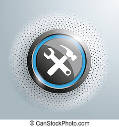 Repair Button Halftone - Repair button with halftone on the...