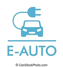 Symbol E-Auto - German text E-Auto, translate E-Car