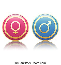 Male Female Golden Buttons SH - Male and female golden...