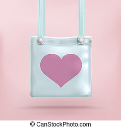 Purse Bag Pink Background Heart - Azure blue purse with...