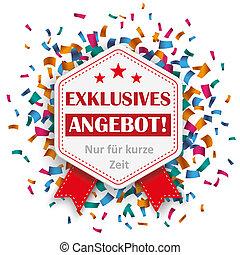 Hexagon Emblem Exklusives Angebot Confetti - German text...
