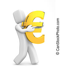 Person carry gold Euro symbol - 3d human carry gold Euro...