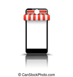 Smartphone Red White Awning Emblem