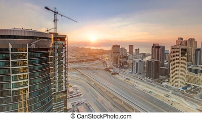 Beautiful sunset aerial top view timelapse at Dubai Marina...