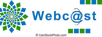 Webcast Green Blue Element - Webcast text over white...