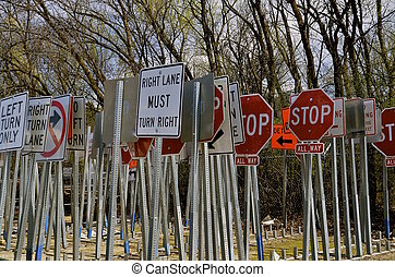 Group of trafic signs - various traffic signs on posts are...