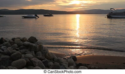 beautiful sunset over lake St-Gabriel-de-Brandon, Quebec,...