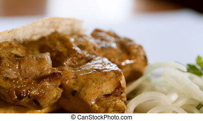 grilled meat with onion