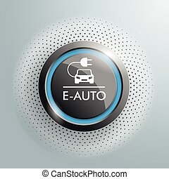 Button E-Auto Halftone - German text E-Auto, translate E-Car...