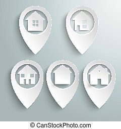 5 Location Markers Houses Set - 5 white location markers...