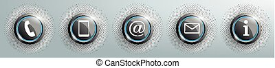Blue Contact Buttons With Halftone SH - Contact buttons with...