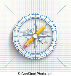 Compass Pencil Checked Paper - Compass with pencil on the...