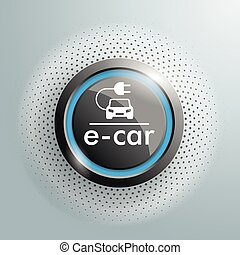 Button e-car Halftone - Button with e-car symbol on the gray...
