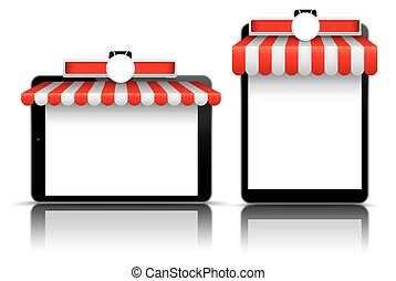 2 Tablets Red White Awning Emblem