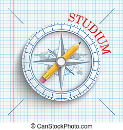 Compass Pencil Checked Paper Studium - German text Studium,...
