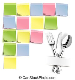 Fork Knife Spoon Colored Sticks Pinboard