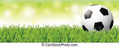Football Grass Bokeh Green Header SH - Football in grass on...