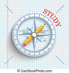 Compass Pencil Checked Paper Study - Compass with pencil and...