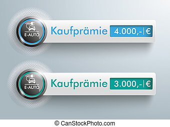 Button E-Auto Halftone Banners Kaufpraemie - German text...