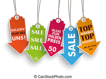 "5 Colored Price Stickers Arrows Angebot - German text ""Top..."