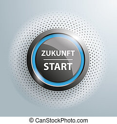 Button Zukunft Start Halftone - Button with german text...
