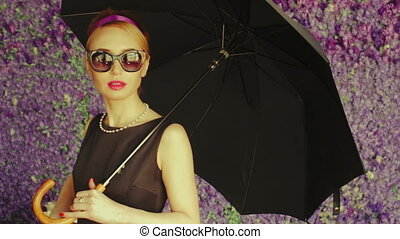 Woman Model with Umbrella Posing In Photo Studio