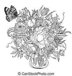 Hand drawing zentangle element. Black and white. Flower...