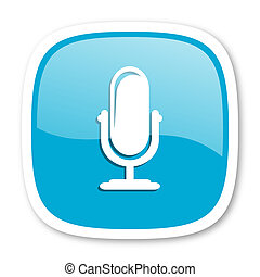 microphone blue glossy web icon - microphone blue glossy...