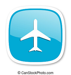 plane blue glossy web icon - plane blue glossy icon