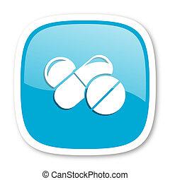 medicine blue glossy web icon - medicine blue glossy icon