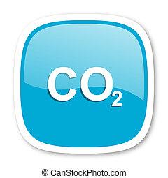 carbon dioxide blue glossy web icon - carbon dioxide blue...