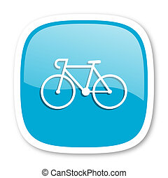 bicycle blue glossy web icon - bicycle blue glossy icon