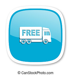 free delivery blue glossy web icon - free delivery blue...
