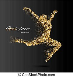 Dancing Woman in the Form of Gold Particles
