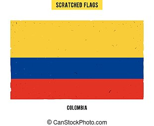Colombian grunge flag with little scratches on surface A...