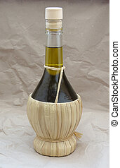 Olive oil flask - Olive oil in a traditional shaped glass...