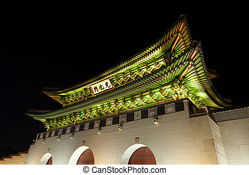 Gyeongbokgung palace main gate shot at night - Seoul,...